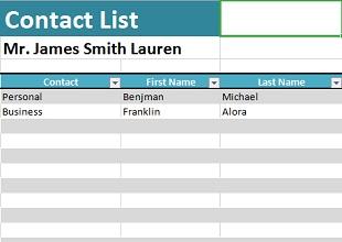 Address List Template 11