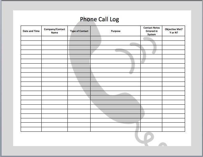 Phone Call Log Templates Office Templates