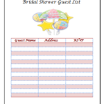 Bridal Shower Guest List Templates