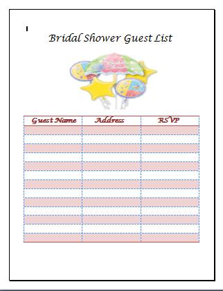 Bridal Shower Guest List Template