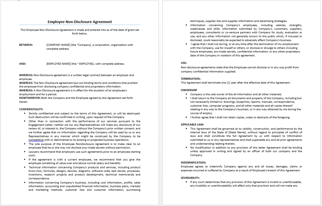 Employee Non Disclosure Agreement Templates Office Templates