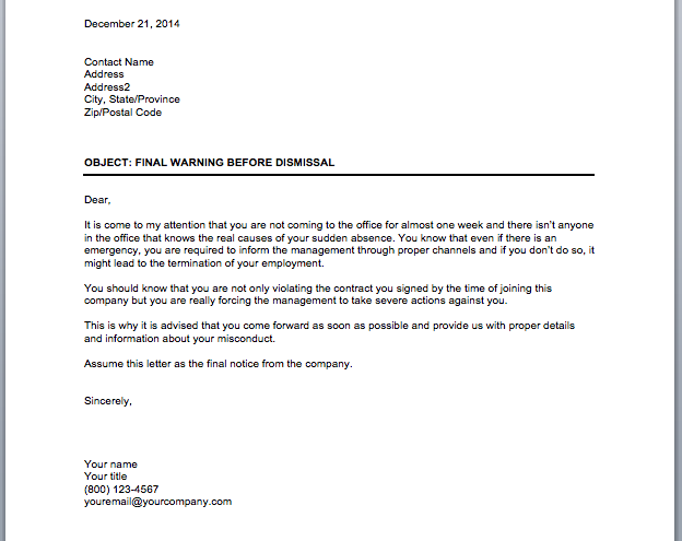 Employee Warning Notice Sample Letter from www.officetemplates.org