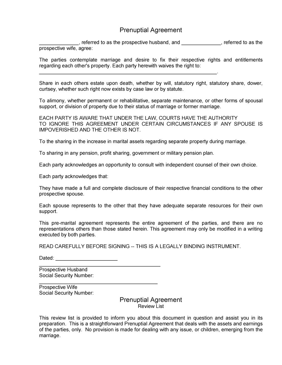 Prenuptial Agreement Template 25