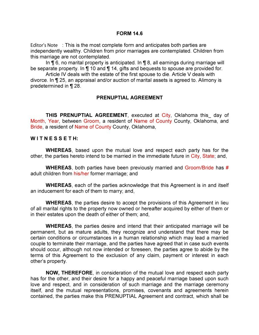 Prenuptial Agreement Template 29